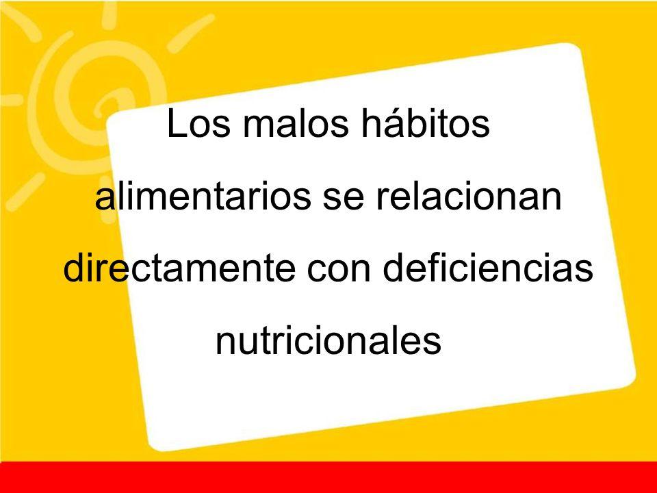 Los malos hábitos alimentarios se relacionan directamente con deficiencias nutricionales