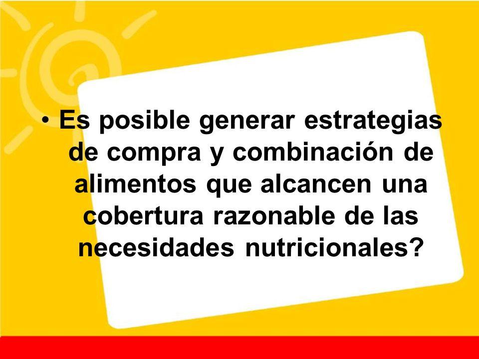 Es posible generar estrategias de compra y combinación de alimentos que alcancen una cobertura razonable de las necesidades nutricionales