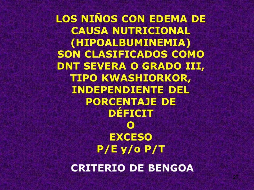 LOS NIÑOS CON EDEMA DE CAUSA NUTRICIONAL (HIPOALBUMINEMIA)