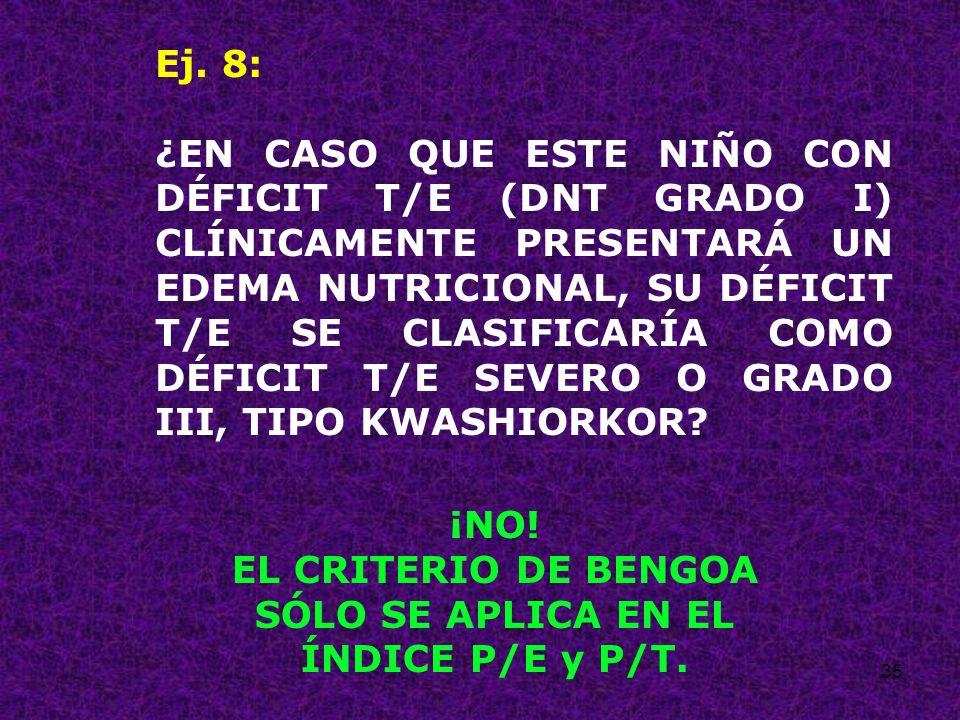EL CRITERIO DE BENGOA SÓLO SE APLICA EN EL ÍNDICE P/E y P/T.