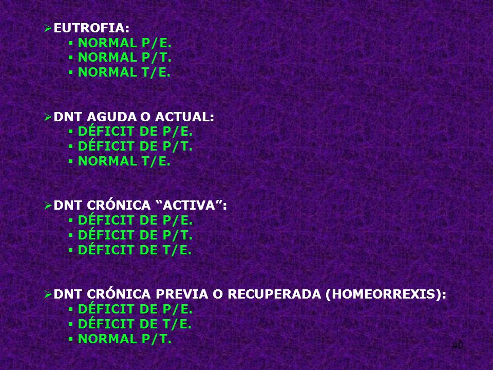 EUTROFIA: NORMAL P/E. NORMAL P/T. NORMAL T/E. DNT AGUDA O ACTUAL: DÉFICIT DE P/E. DÉFICIT DE P/T.