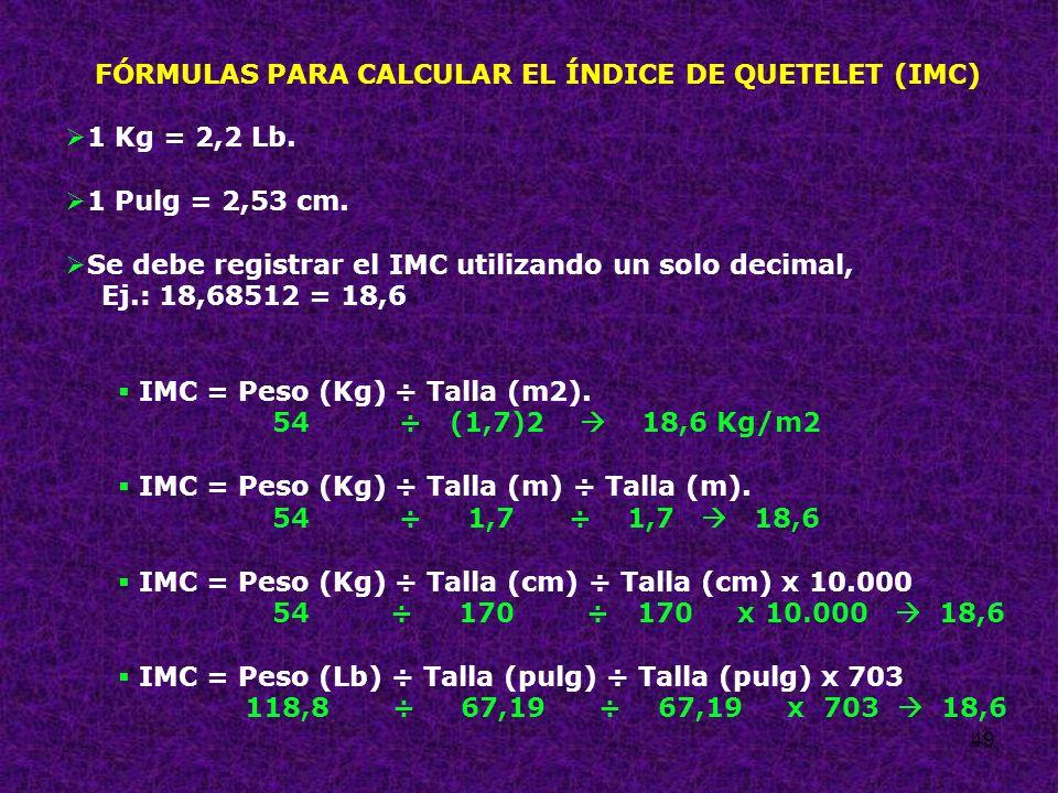 FÓRMULAS PARA CALCULAR EL ÍNDICE DE QUETELET (IMC)