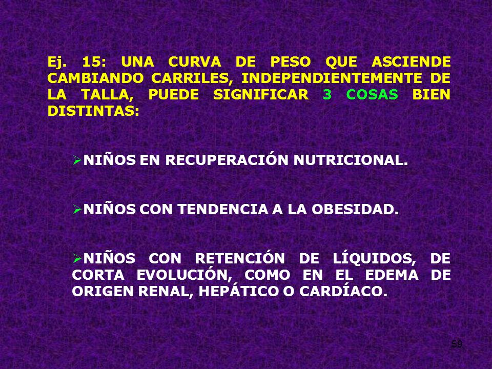 Ej. 15: UNA CURVA DE PESO QUE ASCIENDE CAMBIANDO CARRILES, INDEPENDIENTEMENTE DE LA TALLA, PUEDE SIGNIFICAR 3 COSAS BIEN DISTINTAS: