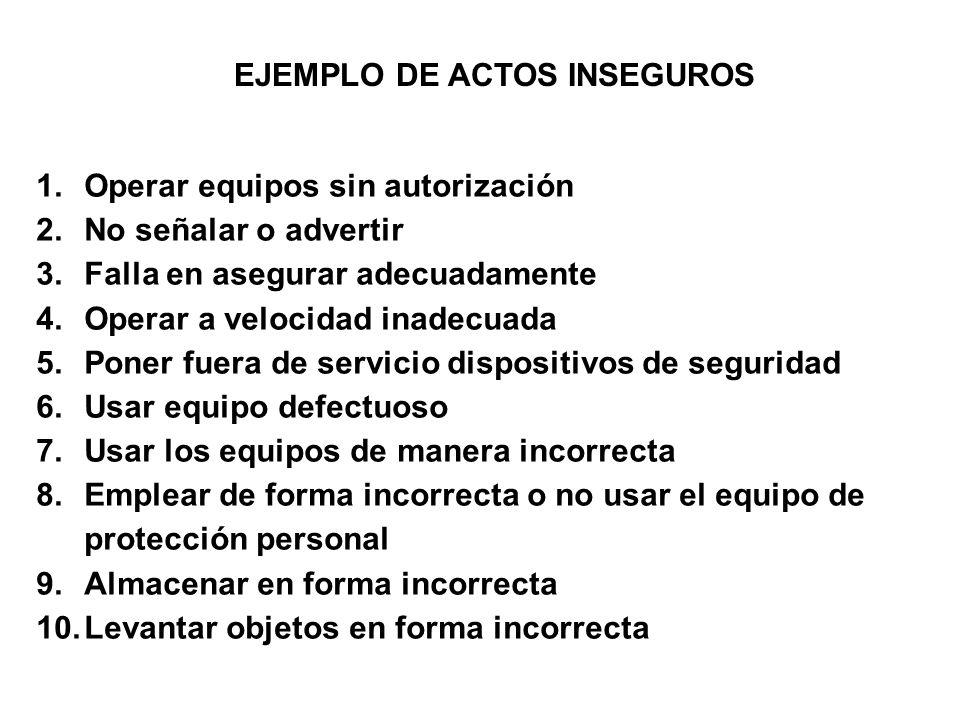 EJEMPLO DE ACTOS INSEGUROS