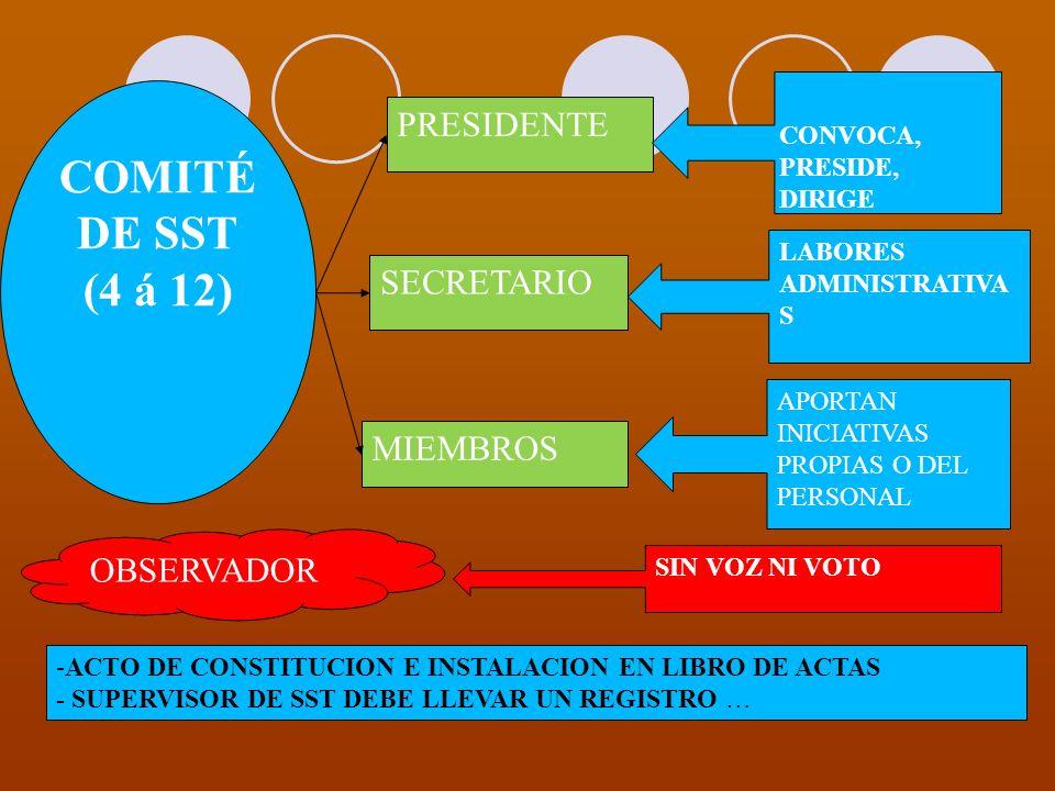 COMITÉ DE SST (4 á 12) PRESIDENTE SECRETARIO MIEMBROS OBSERVADOR