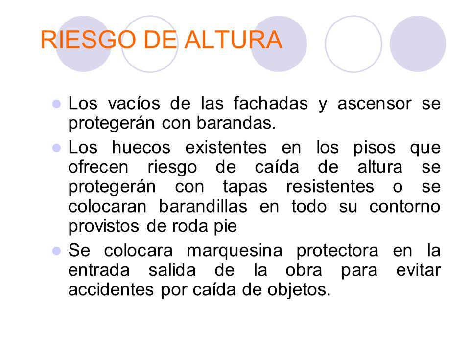RIESGO DE ALTURA Los vacíos de las fachadas y ascensor se protegerán con barandas.