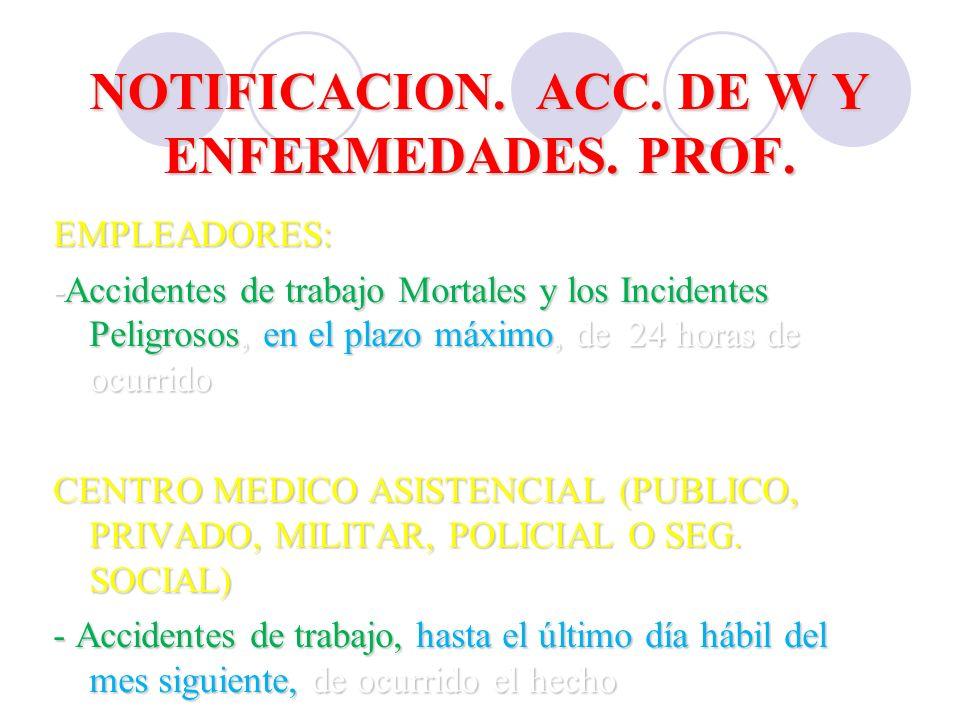 NOTIFICACION. ACC. DE W Y ENFERMEDADES. PROF.