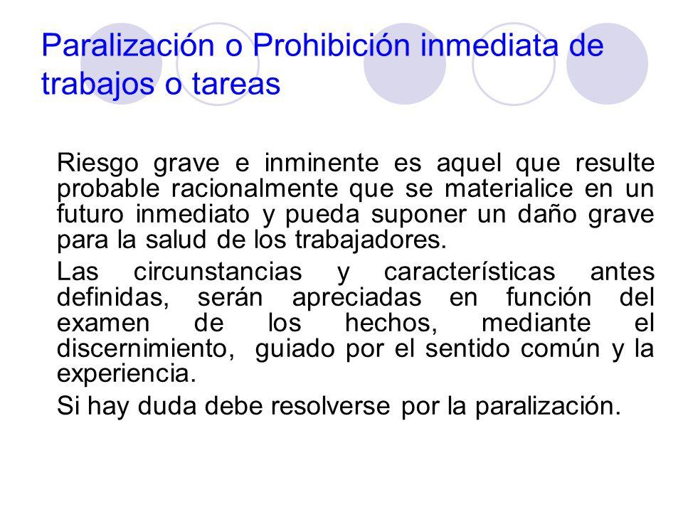 Paralización o Prohibición inmediata de trabajos o tareas