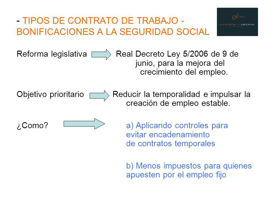 - TIPOS DE CONTRATO DE TRABAJO - BONIFICACIONES A LA SEGURIDAD SOCIAL