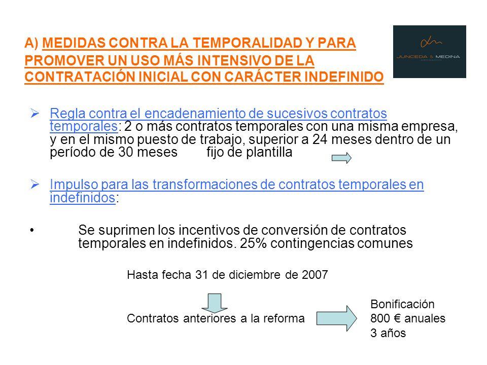 A) MEDIDAS CONTRA LA TEMPORALIDAD Y PARA PROMOVER UN USO MÁS INTENSIVO DE LA CONTRATACIÓN INICIAL CON CARÁCTER INDEFINIDO