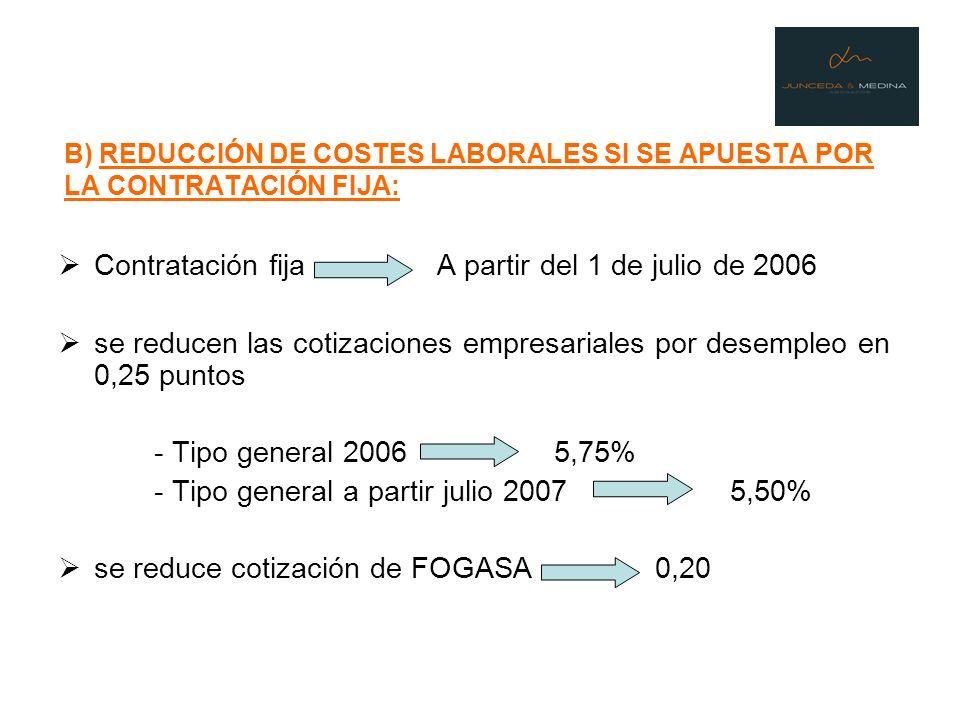 B) REDUCCIÓN DE COSTES LABORALES SI SE APUESTA POR LA CONTRATACIÓN FIJA: