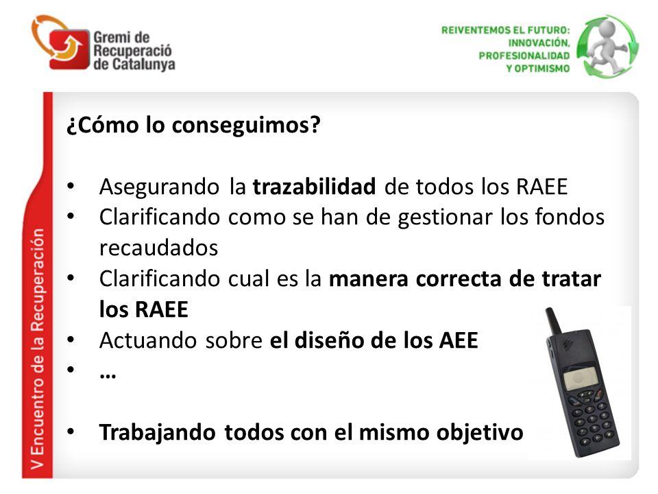 ¿Cómo lo conseguimos Asegurando la trazabilidad de todos los RAEE. Clarificando como se han de gestionar los fondos recaudados.