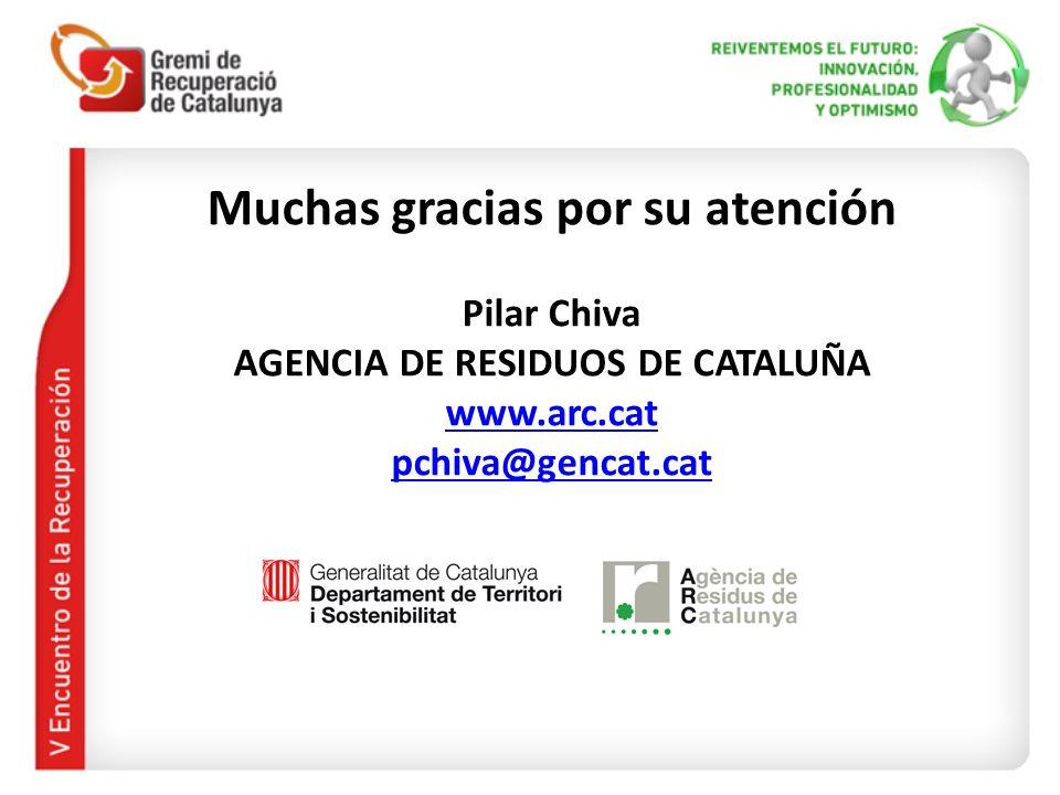 Muchas gracias por su atención AGENCIA DE RESIDUOS DE CATALUÑA