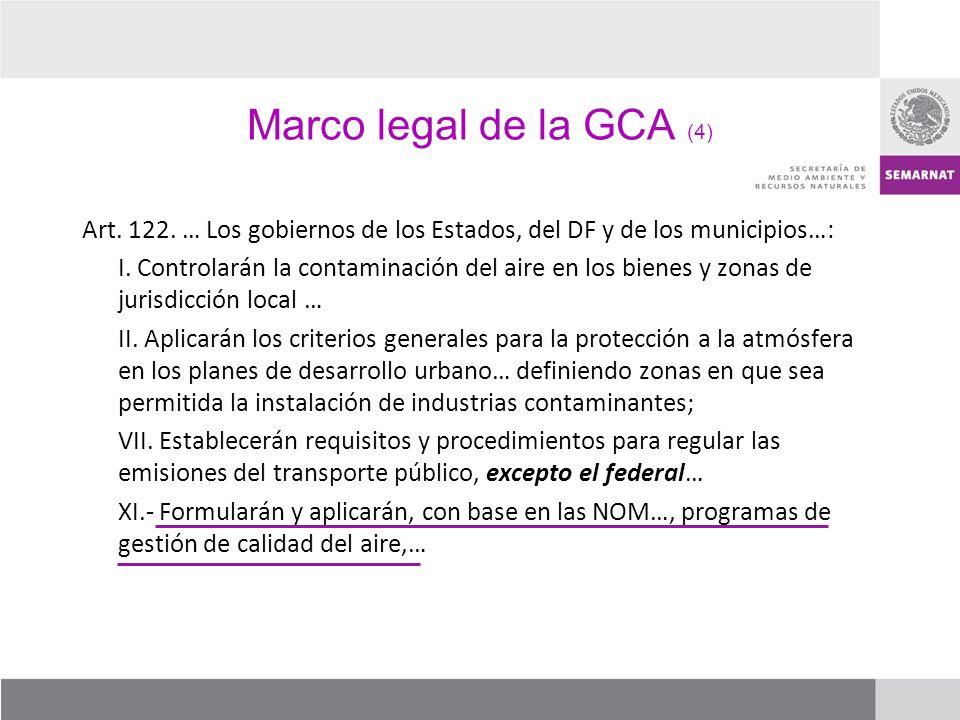 Marco legal de la GCA (4) Art. 122. … Los gobiernos de los Estados, del DF y de los municipios…: