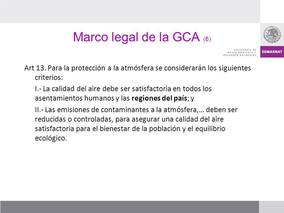 Marco legal de la GCA (6) Art 13. Para la protección a la atmósfera se considerarán los siguientes criterios: