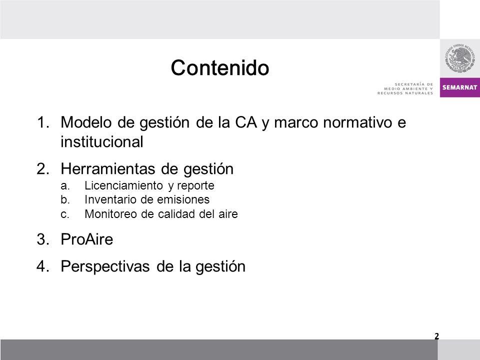 Contenido Modelo de gestión de la CA y marco normativo e institucional