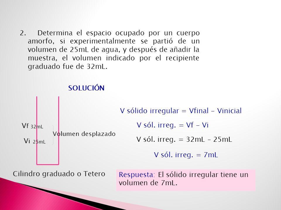 V sólido irregular = Vfinal - Vinicial