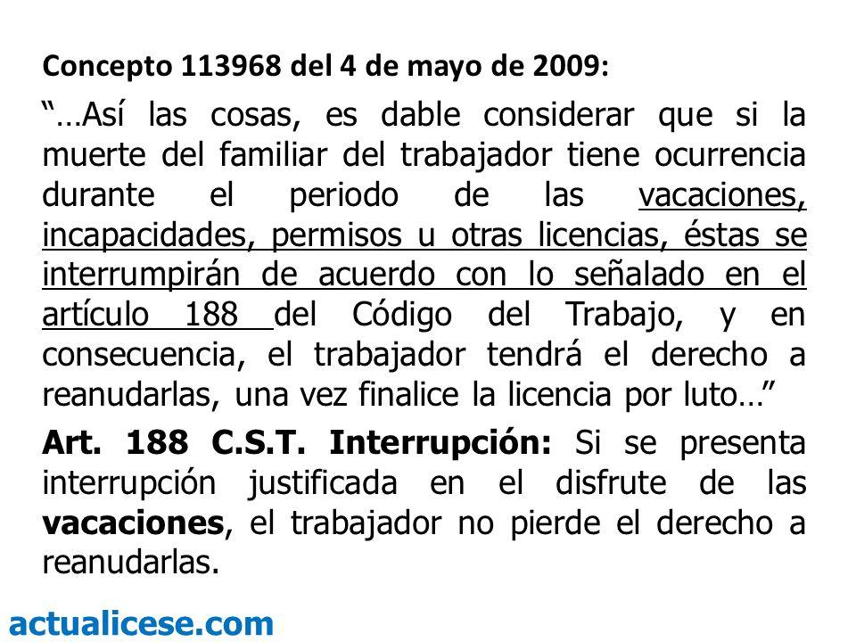 Concepto 113968 del 4 de mayo de 2009: