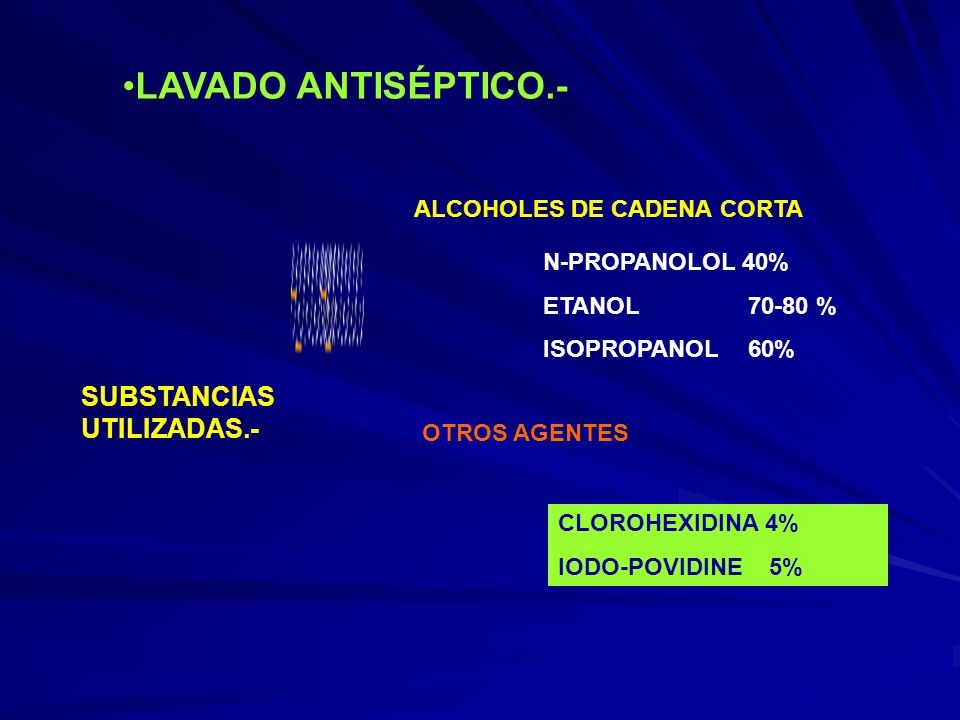 LAVADO ANTISÉPTICO.- SUBSTANCIAS UTILIZADAS.-