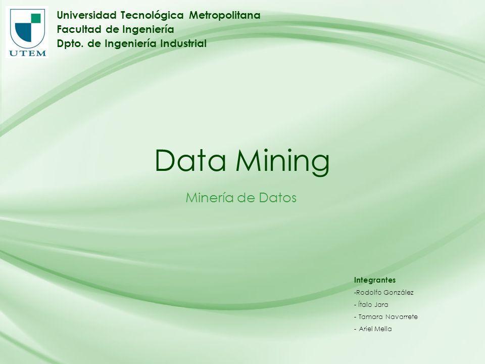 Data Mining Minería de Datos Universidad Tecnológica Metropolitana