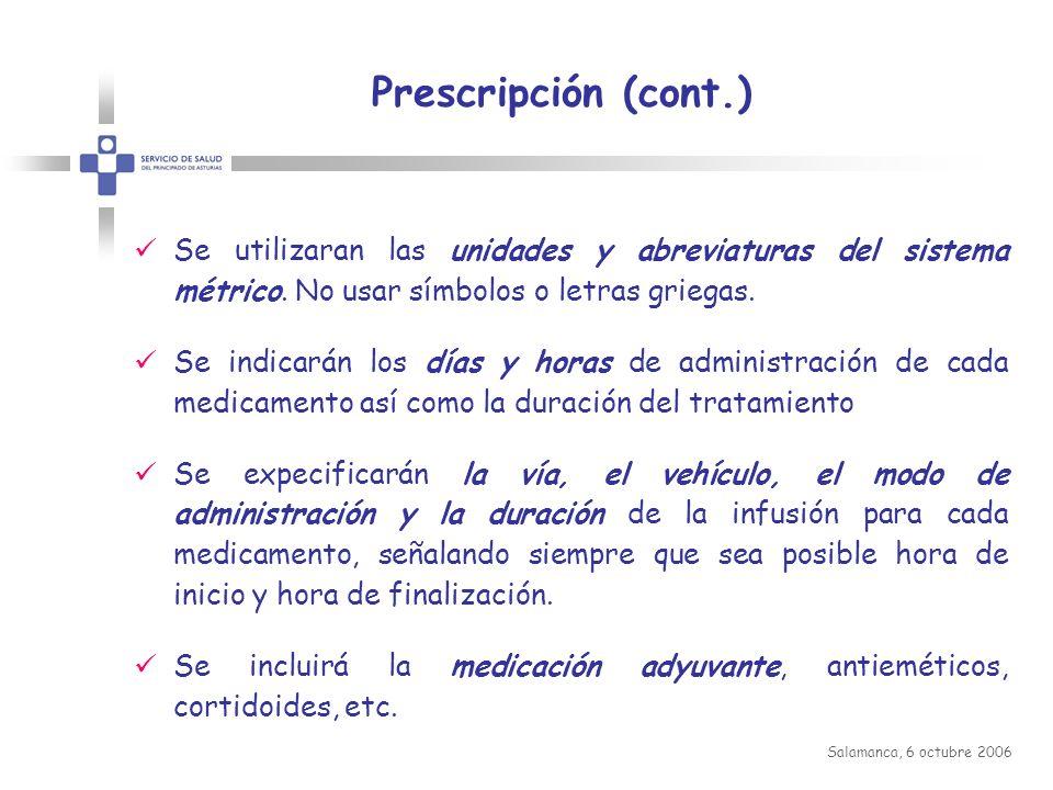 Prescripción (cont.) Se utilizaran las unidades y abreviaturas del sistema métrico. No usar símbolos o letras griegas.