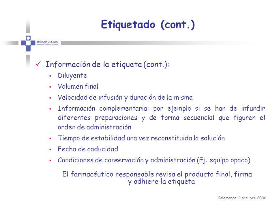 Etiquetado (cont.) Información de la etiqueta (cont.):