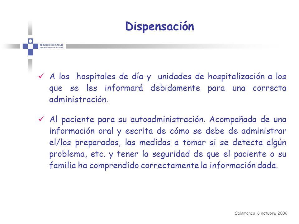 Dispensación A los hospitales de día y unidades de hospitalización a los que se les informará debidamente para una correcta administración.