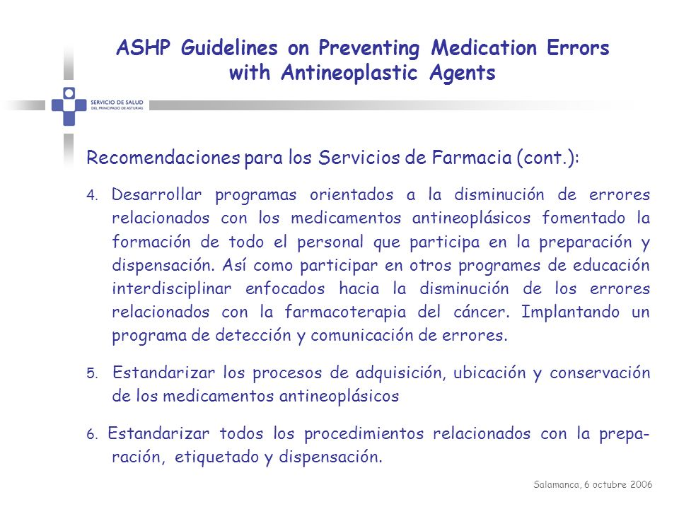 ASHP Guidelines on Preventing Medication Errors with Antineoplastic Agents