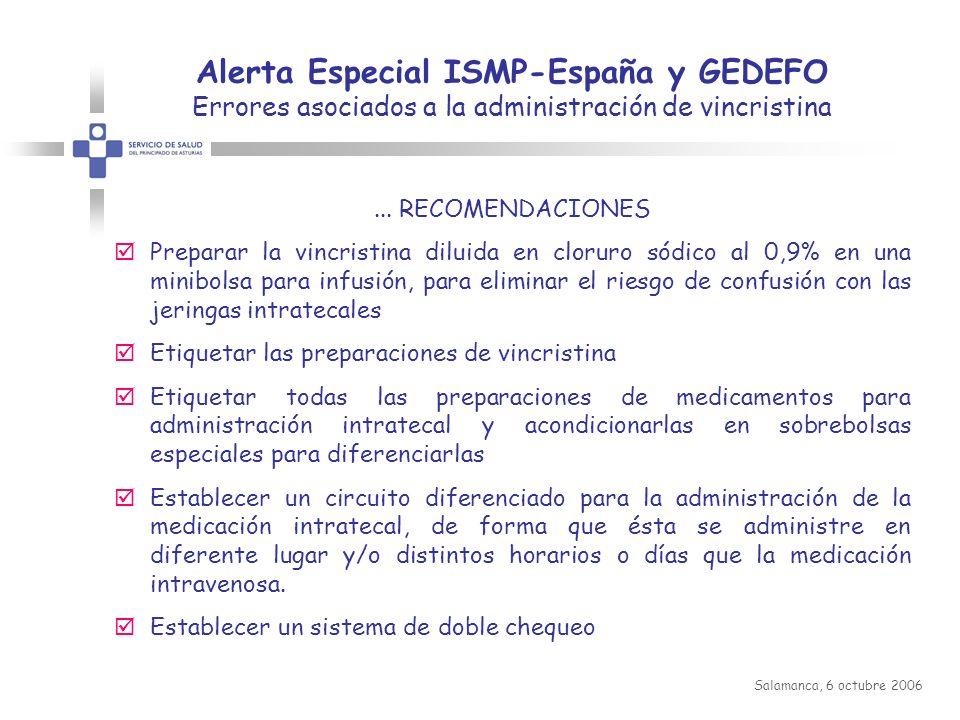 Alerta Especial ISMP-España y GEDEFO Errores asociados a la administración de vincristina
