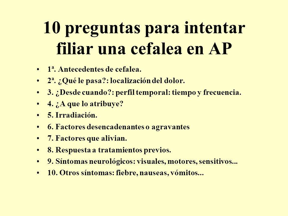 10 preguntas para intentar filiar una cefalea en AP