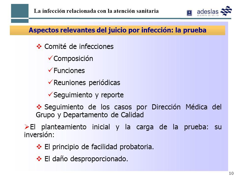 Aspectos relevantes del juicio por infección: la prueba