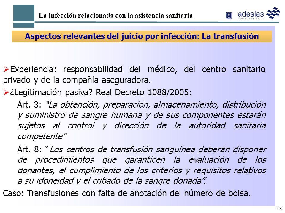 Aspectos relevantes del juicio por infección: La transfusión