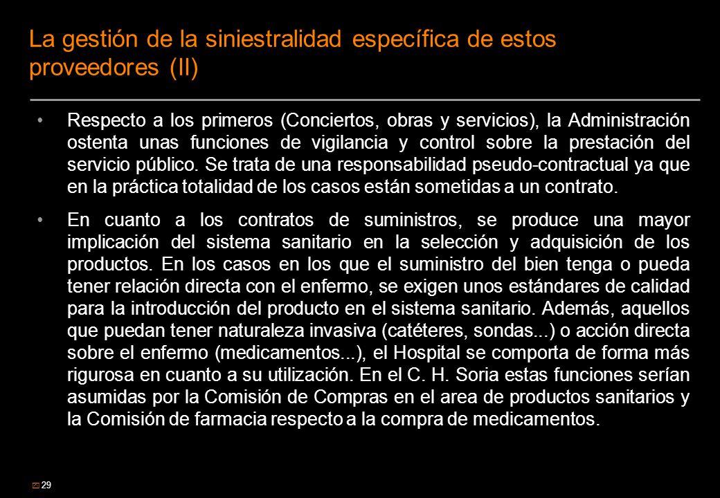 La gestión de la siniestralidad específica de estos proveedores (II)