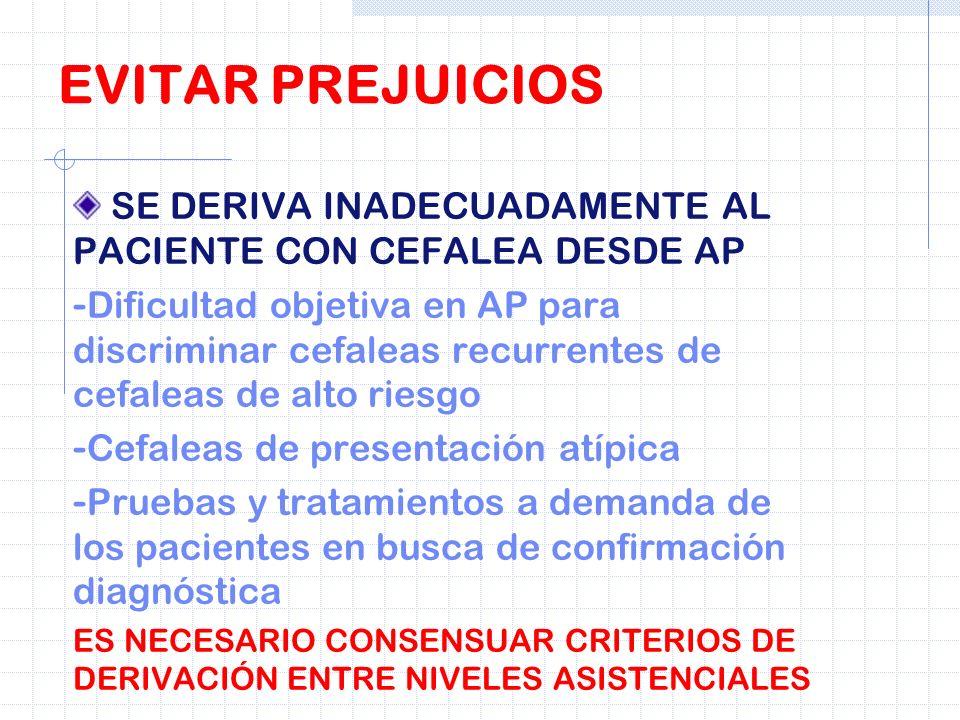 EVITAR PREJUICIOSSE DERIVA INADECUADAMENTE AL PACIENTE CON CEFALEA DESDE AP.