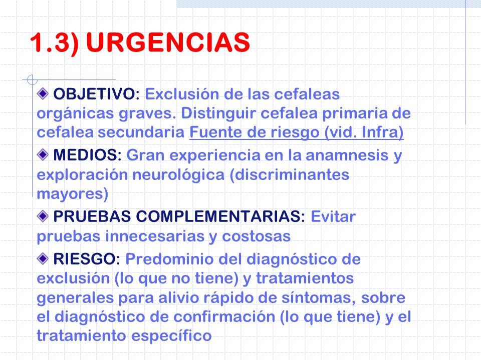 1.3) URGENCIAS OBJETIVO: Exclusión de las cefaleas orgánicas graves. Distinguir cefalea primaria de cefalea secundaria Fuente de riesgo (vid. Infra)