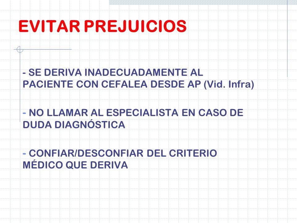 EVITAR PREJUICIOS - SE DERIVA INADECUADAMENTE AL PACIENTE CON CEFALEA DESDE AP (Vid. Infra) NO LLAMAR AL ESPECIALISTA EN CASO DE DUDA DIAGNÓSTICA.