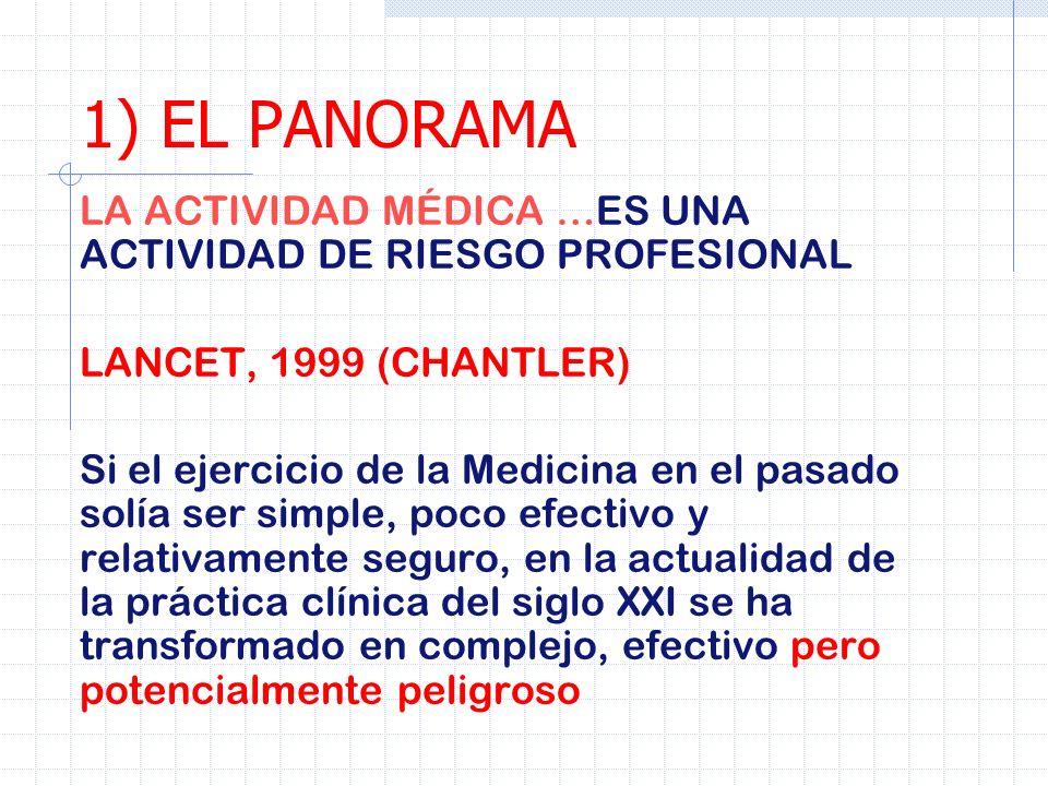 1) EL PANORAMA LA ACTIVIDAD MÉDICA …ES UNA ACTIVIDAD DE RIESGO PROFESIONAL. LANCET, 1999 (CHANTLER)