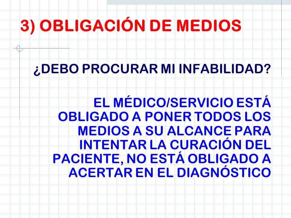 3) OBLIGACIÓN DE MEDIOS ¿DEBO PROCURAR MI INFABILIDAD