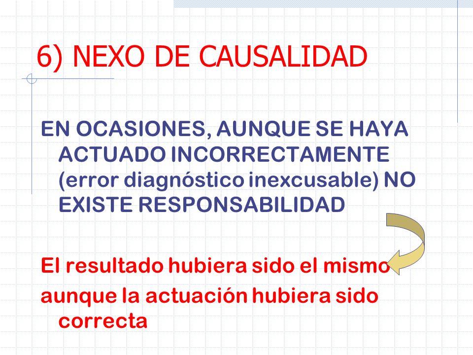 6) NEXO DE CAUSALIDADEN OCASIONES, AUNQUE SE HAYA ACTUADO INCORRECTAMENTE (error diagnóstico inexcusable) NO EXISTE RESPONSABILIDAD.