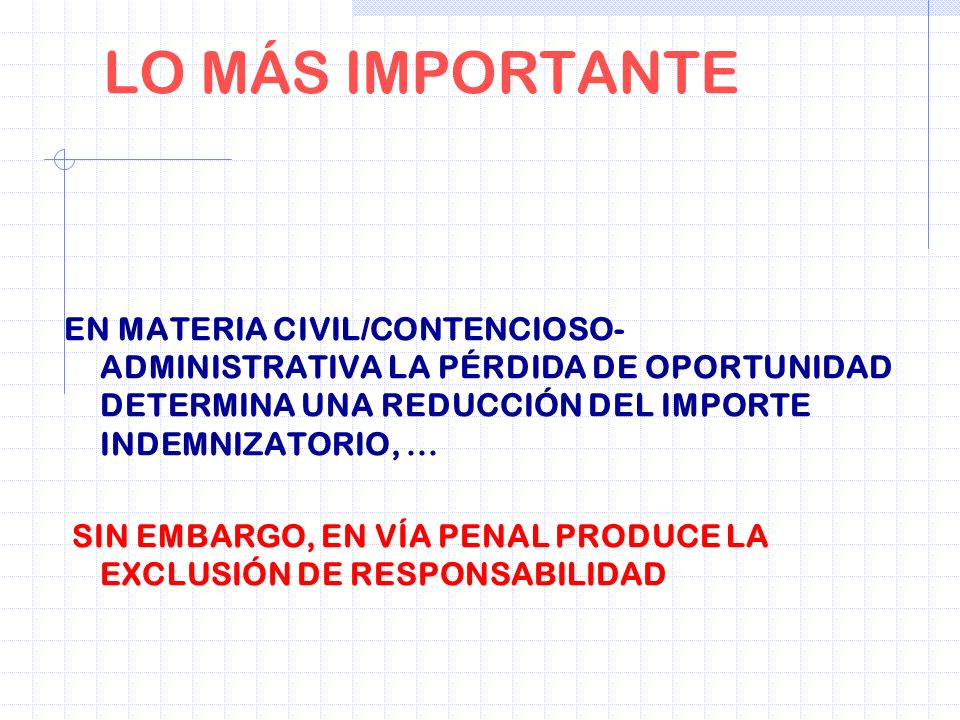 LO MÁS IMPORTANTEEN MATERIA CIVIL/CONTENCIOSO-ADMINISTRATIVA LA PÉRDIDA DE OPORTUNIDAD DETERMINA UNA REDUCCIÓN DEL IMPORTE INDEMNIZATORIO, ...
