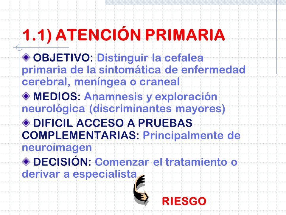 1.1) ATENCIÓN PRIMARIA OBJETIVO: Distinguir la cefalea primaria de la sintomática de enfermedad cerebral, meníngea o craneal.