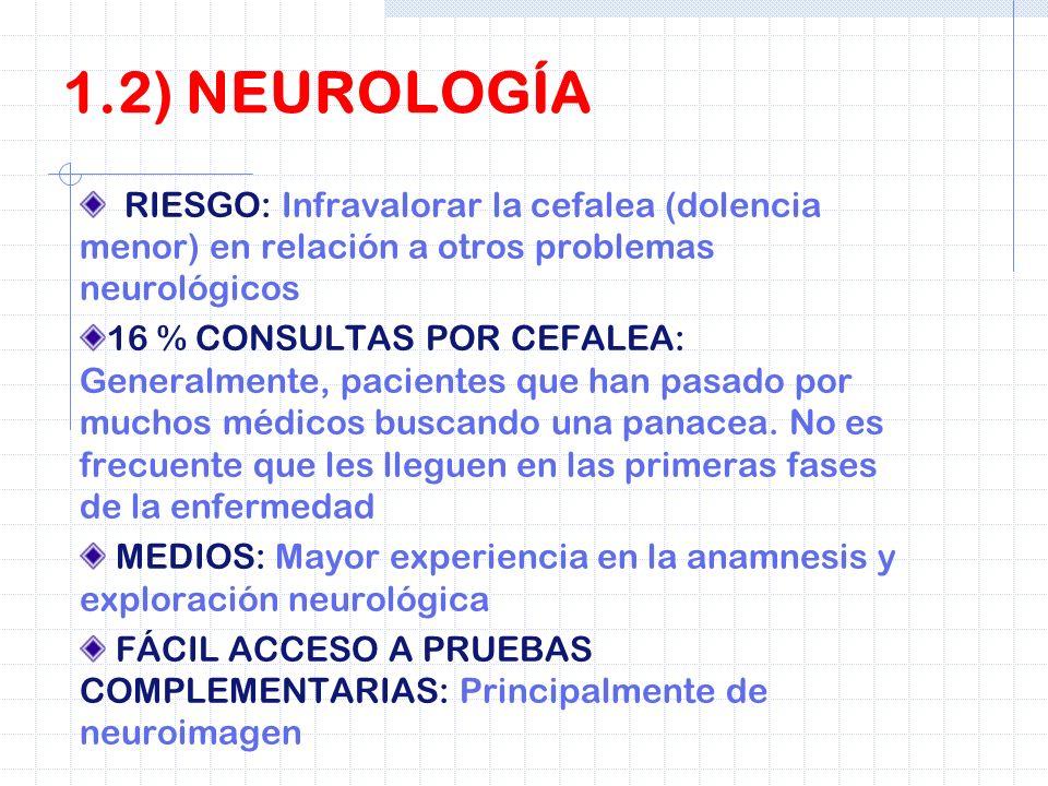 1.2) NEUROLOGÍARIESGO: Infravalorar la cefalea (dolencia menor) en relación a otros problemas neurológicos.