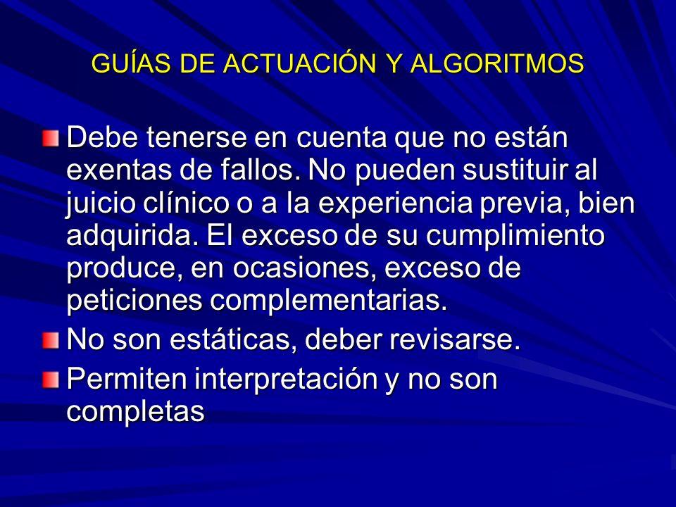 GUÍAS DE ACTUACIÓN Y ALGORITMOS