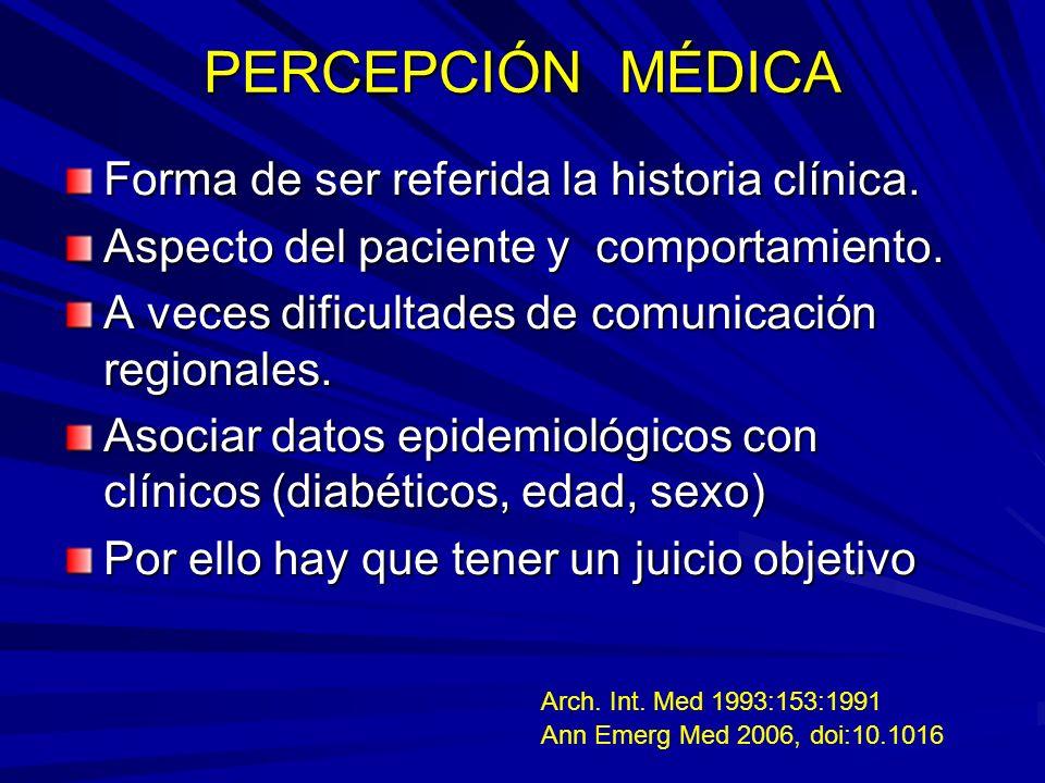 PERCEPCIÓN MÉDICA Forma de ser referida la historia clínica.