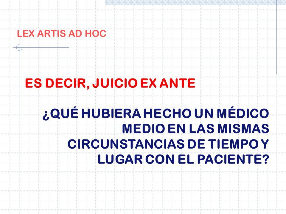 LEX ARTIS AD HOCES DECIR, JUICIO EX ANTE.