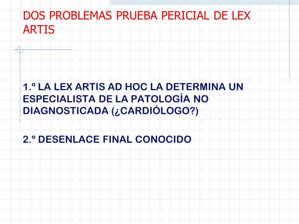 DOS PROBLEMAS PRUEBA PERICIAL DE LEX ARTIS
