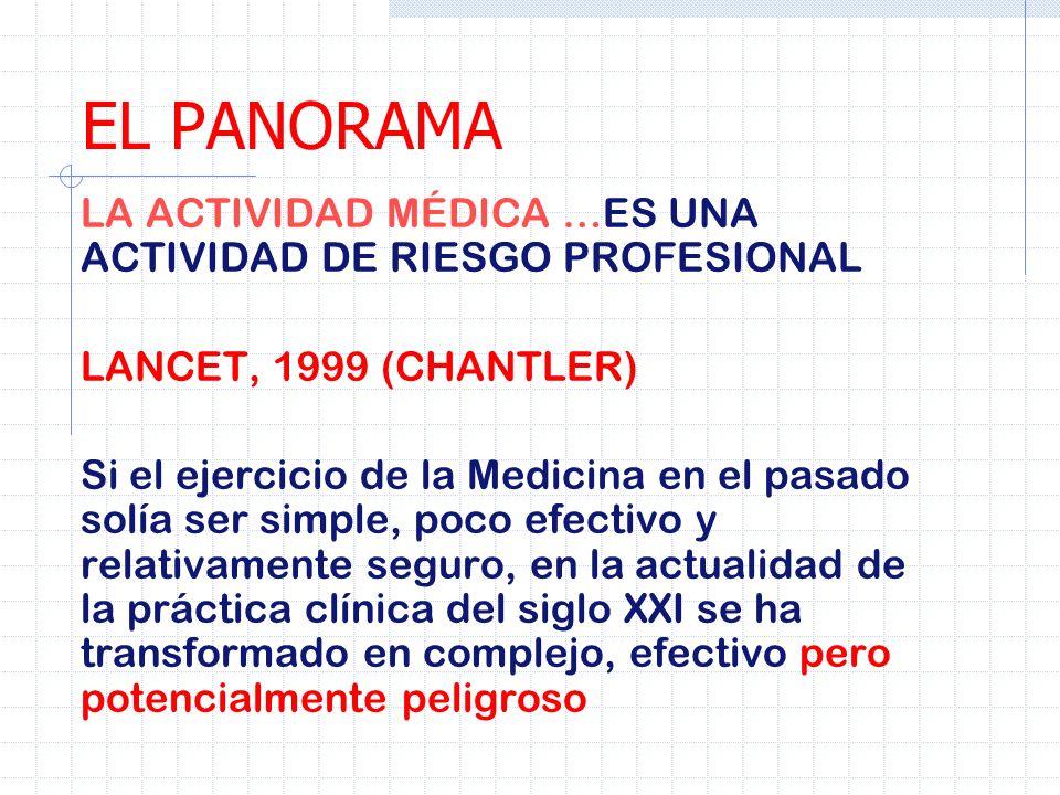 EL PANORAMA LA ACTIVIDAD MÉDICA …ES UNA ACTIVIDAD DE RIESGO PROFESIONAL. LANCET, 1999 (CHANTLER)