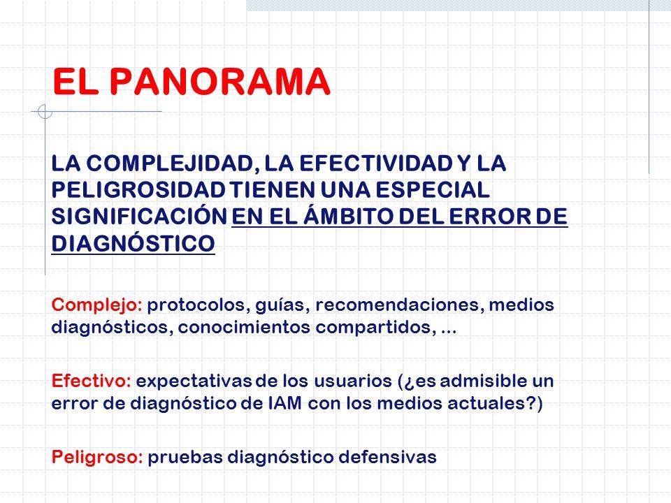 EL PANORAMALA COMPLEJIDAD, LA EFECTIVIDAD Y LA PELIGROSIDAD TIENEN UNA ESPECIAL SIGNIFICACIÓN EN EL ÁMBITO DEL ERROR DE DIAGNÓSTICO.