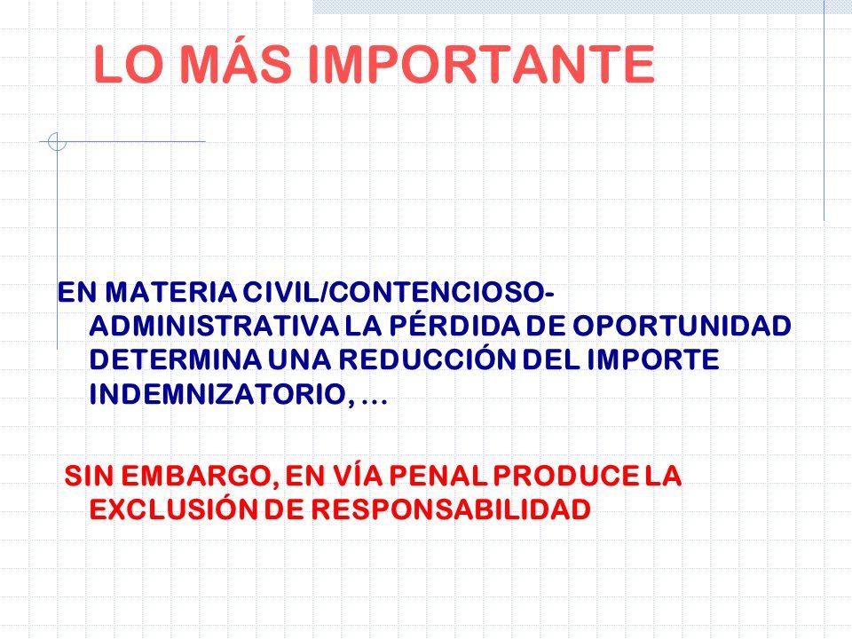 LO MÁS IMPORTANTE EN MATERIA CIVIL/CONTENCIOSO-ADMINISTRATIVA LA PÉRDIDA DE OPORTUNIDAD DETERMINA UNA REDUCCIÓN DEL IMPORTE INDEMNIZATORIO, ...