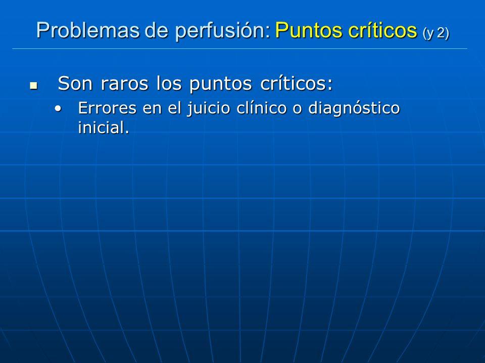 Problemas de perfusión: Puntos críticos (y 2)